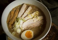 Pork with eggs ramen street food sapporo city style stock image