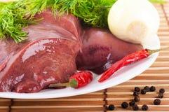 pork för leverlökpeppar arkivbild