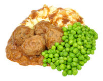 Pork Meatballs And Mashed Potato Meal Royalty Free Stock Photo