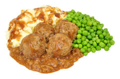 Pork Faggot Meatballs And Mashed Potato Meal Stock Photography