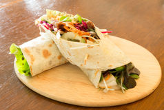 Pork fajita sandwich. Tortolla wrap Royalty Free Stock Image