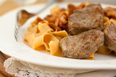 Pork fillet with pasta Royalty Free Stock Photo