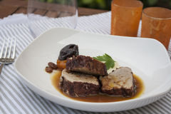 Pork fillet with sauce and potato puree Stock Image