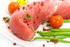 A pork fillet-tenderloin , raw Royalty Free Stock Photos