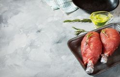 Pork fillet wrapped in bacon on concrete background. Closeup. Copy space Stock Photo