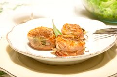 Pork fillet wrapped in speck with sage. Italy Stock Photography