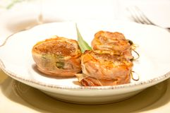 Pork fillet wrapped in speck with sage. Italy Royalty Free Stock Image