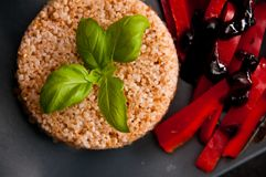 Pork fillets with rice and peppers. Royalty Free Stock Photos