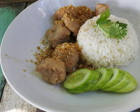 Pork fire with garlic and rice Stock Images