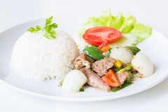 Pork with Fried Black Pepper and rice. Stock Photo