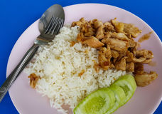 Pork fried garlic on rice. Foid thai style vegetable morning Royalty Free Stock Images