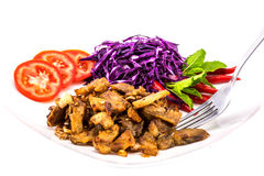 Pork fried isolate on white Royalty Free Stock Images