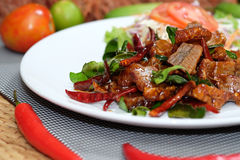 Pork fried with oyster sauce Stock Photos