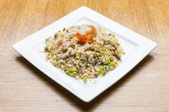 Pork fried rice with crab roe Royalty Free Stock Images
