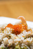 Pork fried rice with crab roe Royalty Free Stock Photo