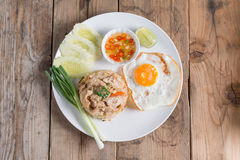 Pork fried rice and fried egg with vegetable. Top view. Stock Image