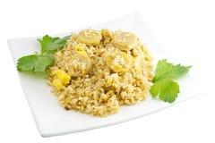 Pork fried rice isolated on white Royalty Free Stock Image