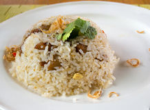 Pork fried rice. On top with deep onion fried Royalty Free Stock Image