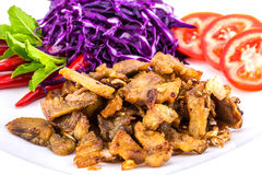 Pork fried with vegetable Royalty Free Stock Photography