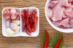 Pork and garnish for cooking food Royalty Free Stock Photo