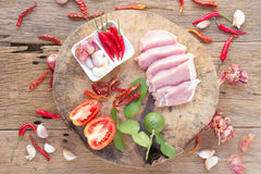 Pork and garnish for cooking food Stock Photo