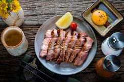 Pork grill  Japanese cooking style. Royalty Free Stock Image
