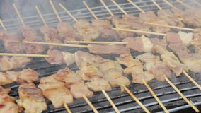 Pork grill over coals sold in thai market. Stock Photography