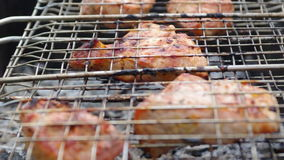 Pork on the grill. Summer barbecue concept. Royalty Free Stock Photos