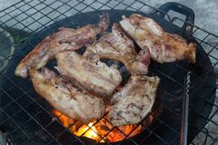 Pork grill thai style with charcoal stock photo