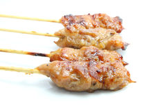 Pork grilled skewer Royalty Free Stock Image