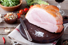 Pork ham with fresh salad and vegetables. Stock Photos