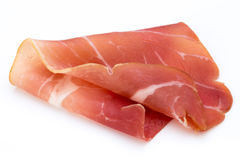 Pork ham slices isolated on white background. Royalty Free Stock Photography