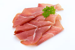 Pork ham slices isolated on white background Royalty Free Stock Photography