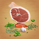 Pork ham with tasty sauces and spices Stock Photography