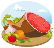 Pork ham with vegetable Stock Photo