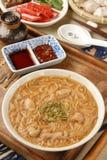 Pork intestine thin noodle. Taiwan famous food - pork intestine thin noodles royalty free stock photos
