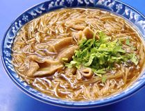 Pork intestine thin noodles. In Taiwan royalty free stock photography