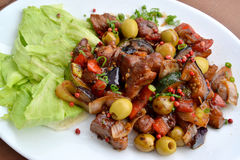Pork in Italian, stewed with vegetables. Large the plan Royalty Free Stock Images