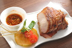 Pork jowl. Thai style Pork jowl meat stock photo
