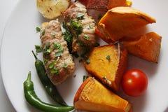 Pork kebab closeup Royalty Free Stock Photo
