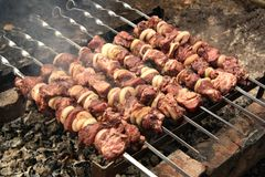 Pork kebab on the grill Stock Images