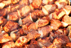 Pork kebab with onion Stock Images