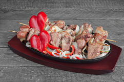 Pork kebab with salad of sweet peppers and onions Royalty Free Stock Images