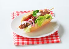 Pork kebab sandwich Stock Photos