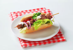 Pork kebab sandwich Royalty Free Stock Image