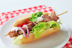 Pork kebab sandwich Royalty Free Stock Photography