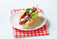 Pork kebab sandwich Stock Photography