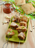 Pork kebab with tomato sauce. And spices stock photography