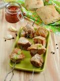 Pork kebab with tomato sauce Stock Photography