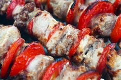 Pork kebab with tomatoes on the grill. Pork kebab with tomatoes roasted on the grill Stock Image